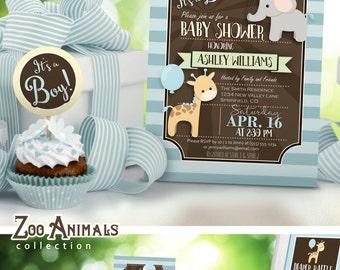 Elephant Baby Shower Invitation, Boy - Printable DIGITAL FILE - 001