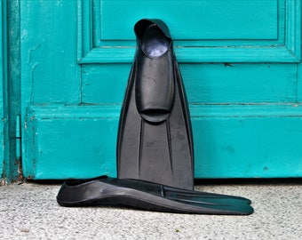 Swimming Fins - Rubber Fins - Vintage Black Swimming Flippers - Bulgarian Diving Fins - Scuba Fins - Diving Equipment - Scuba Diving