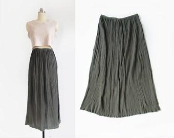 vintage crinkle silk skirt / long minimal plisse pleat maxi skirt / sage grey / womens M - L