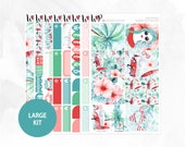 June in Maui Large Kit - Matte or Glossy Erin Condren Planner Stickers - Blue Green Red Pink Summer Beach Surfing Hawaii Hibiscus