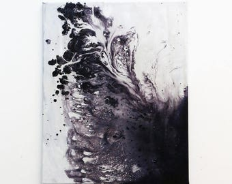 wash. Original Abstract Acrylic Painting. Purple and off white painting. Modern Art, Medium Canvas