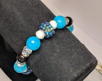 Aqua Blue and Black Bracelet