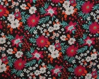 """Decorative Fabric, Floral Print, Black Fabric, Dress Material, Quilting Fabric, 56"""" Inch Rayon Fabric By The Yard ZBR330A"""