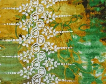 "Dress Material, Green Fabric, Ethnic Fabric, Floral Embroidery, Designer Fabric, 43"" Inch Cotton Fabric By The Yard ZBC7636A"