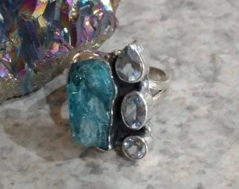 Neon Blue Apatite and Blue Topaz  Ring Size 5 1/2