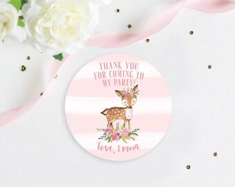 Deer Favor Tag, Deer Thank You Tag, Deer Birthday Party, Party Favor Sticker, Deer Stickers, Deer Favor Stickers
