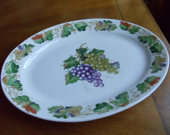 Vintage Grapevine Serving Platter, Vino by Tabletops Unlimited Oval Classic Ceramic Discontinued Vine Pattern Platter, Holiday Centerpiece