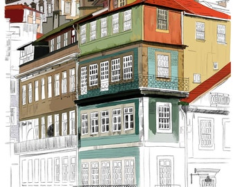 Porto - High quality print of hand-made illustration of Portuguese architecture / Travel diaries