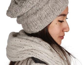 Winter Beanie, Slouchy Hat, Wool Hat, Women Winter Hat, Hand Knitted Hat, Warm Winter hat, Wool Knit Hat
