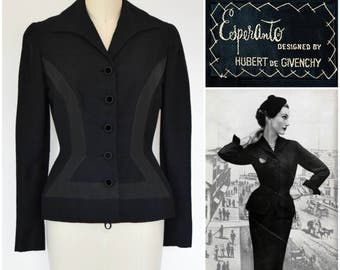 Vintage Givenchy Black Jacket/ 1950s Paris Haute Couture Silk Wool Velvet Fitted Suit/ 1953 Vogue Featured Esperanto Jacket for Jay Thorpe