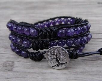 Leather Waps Bracelet Amethyst Beads Bracelet Natural stone Bracelet Gemstone Bracelet Amethyst Waps Bracelet 3 rows Agate Bracelet SL-0525