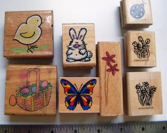 Springtime Easter animals, ladybug and flowers rubber stamp set