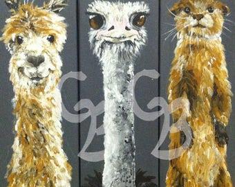 Llama, Ostrich, Otter Print