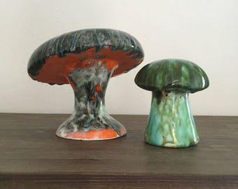 garden decor glazed ceramic garden mushrooms mushroom decor ceramic mushrooms vintage pottery - Orange Garden Decor