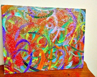 Colorful Artwork, Modern Art, Abstract Painting, Watercolor Paint, On Canvas, Rainbow Glitter, Wall Decor, 11x14 Decoration, Living Room