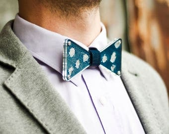 Special bow tie from plexiglass for man and woman, inner design from denim and glitter