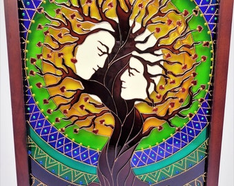 "Tree of love art 15""x12"" Tree of family Tree of life Glass painting"