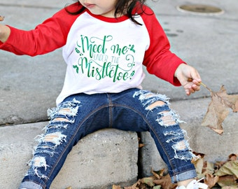 funny christmas shirt, Kids Christmas outfit, mistletoe shirt, toddler Christmas raglan, first Christmas, boy Christmas, girl Christmas