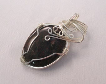 Bloodstone Wire Wrap Pendant - OOAK - Silver Wire - Strength, Courage, Purification, Vitality, Protection, Balance, Chakra - Crystal Cave