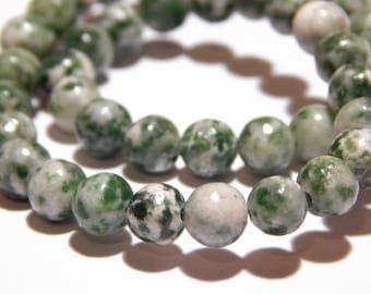 15 Inch Strand - 6mm Green Spot Jasper Beads - Green Spot Jasper - Gemstone Beads - Jewelry Supplies