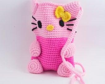 Handmade crochet bag, crocheted purse, hello kitty purse