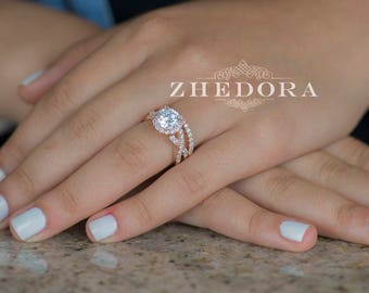 Beau 2.25 CT Round Cut Engagement Ring Band Set In Solid 14k Or 18k Rose Gold  Bridal