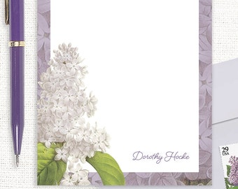 personalized notePAD - GRANDMA'S LILACS in PURPLE - custom stationery - stationary - botanical - floral - flower pad