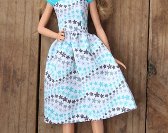 Barbie Dress, Barbie Clothes, 1.5 inch doll clothes, blue doll dress