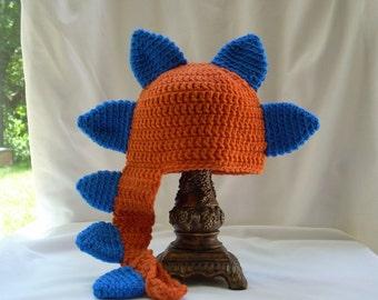 Baby Dinosaur Hat, Crochet Dragon Hat, Crochet Animal Hat, Baby Boy's Animal Hat, Baby Crochet Hat, Orange Baby Boy Hat, Costume Hat