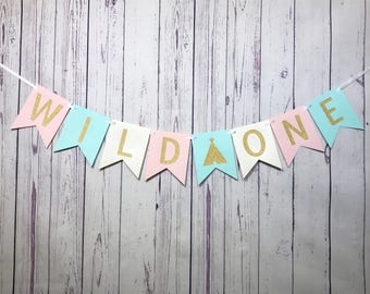 Wild One Banner, Wild One Birthday, 1st Birthday, Wild One Girl, Tribal Banner, Tribal Teepee, Pow Wow Party, Wild One Cake Smash, I Am One