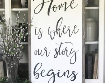 "Home Is Where Our Story Begins 22"" x 36"" Wood Framed Sign"