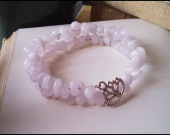 Pink Morganite Lotus Bracelet ~ Memory Wire