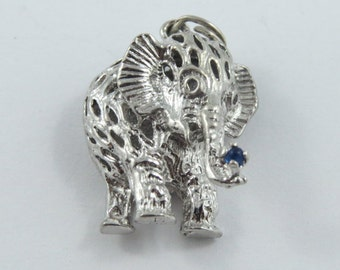 Elephant Playing with an Enameled Blue Ball in his Trunk Sterling Silver Charm or Pendant.