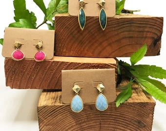 Gemstone Drop Down Earrings