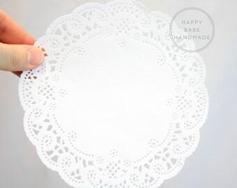 6 Inch Doilies, French Lace Doilies, Paper Doilies, 25 or 50, White Doilies, Lace Paper Doilies, Vintage Wedding, Doilies Table Decor