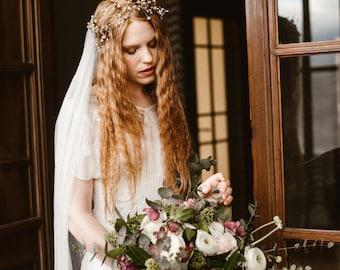 "Wedding ""Clementine crown"", bridal headpiece, hairvine, flower crown, vintage hairstyle, Made in italy"