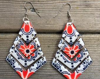 Talavera mexican pottery inspired shrink plastic tier dangle earrings handmade lightweight mosaic orange reversible