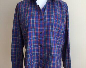 Vintage 1970s Blue Plaid Button Down Shirt