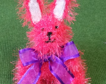 Hand Knitted Easter Bunny Rabbit in Sparkly Bright Sorbet Pink Tinsel Wool - 16cm Tall