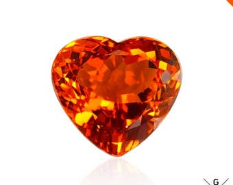 Madeira Citrine stone 7.51ct. Natural rare AAA Citrine loose gemstone Hot Orange Madeira Citrine Heart Cut for Pendant Ring see VIDEO