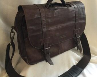 Vintage Leather Brief Case, Brown Kenneth Cole Messenger Bag, Computer Bag, Attaché Case, Distressed Leather, Fold Over Bag, Shoulder Bag