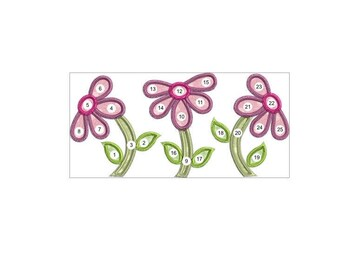 APPLIQUE FLOWERS machine embroidery download 3 diff sizes