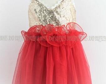 Gold & Red Baby Dress, Baby Girl Dress, Baby Tutu Dress, Princess Dress, Baby Photo Prop, Toddler Dress, Infant Dress, Baby Pageant Dress
