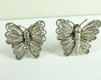 Antique Sterling Silver 925 Butterfly Filigree Screwback Earrings