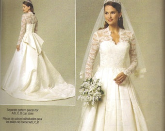 Butterick B5731 14-20 Princess Kate Wedding Dress Pattern New FF Temple Wedding Dress Pattern
