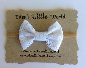 White Lace Bow, baby headband, white bow headband
