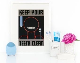Bathroom Sign, Funny Bathroom Wall Art, Bathroom Art for Kids, Framed Wall Art, Brush Your Teeth