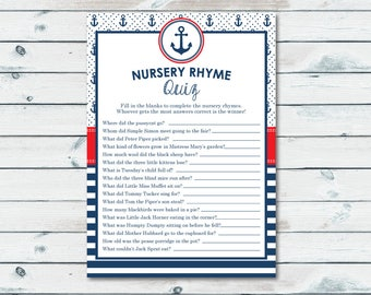 Nautical Nursery Rhyme Quiz Printable, Nursery Rhyme Game, Baby Shower Quiz, Finish The Rhyme, Nautical Baby Shower Games