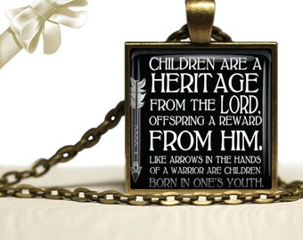Bible Verse Pendant with antique gold chain-24 inches -Pro-Life Bible Verse Necklace - Children are a gift