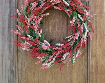 Spring Wreath, Heather Wreath, Pink Wreath, Floral Wreath, Heather Flowers, Front Door Wreath, Front Door Decor, Pink Floral, Wildflowers
